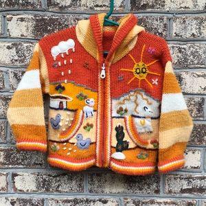 Alpaca Hand Knit 3D Design Hooded Cardigan Sweater